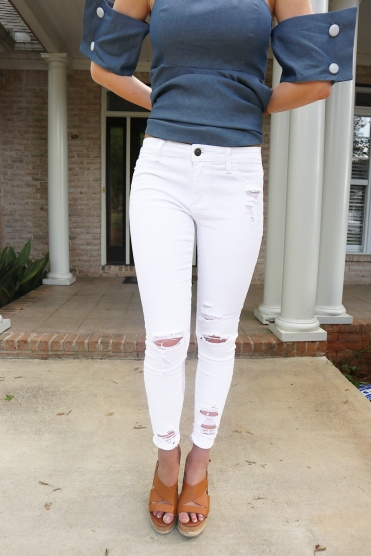 white jeans front